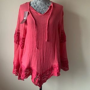 NWT JPB red/coral tunic top size Small